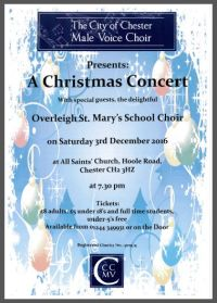 7.30pm ,Saturday 3rd December 2016 - Christmas Concert at All Saints Church, Hoole