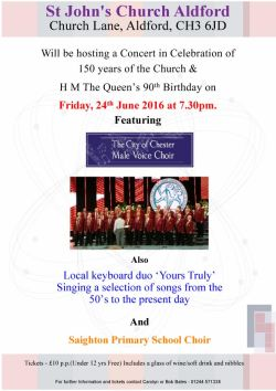 7.30pm Friday 24th June _ Concert at St. John's Church, Aldford