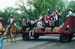 Choir on horse and cart in South Dakota